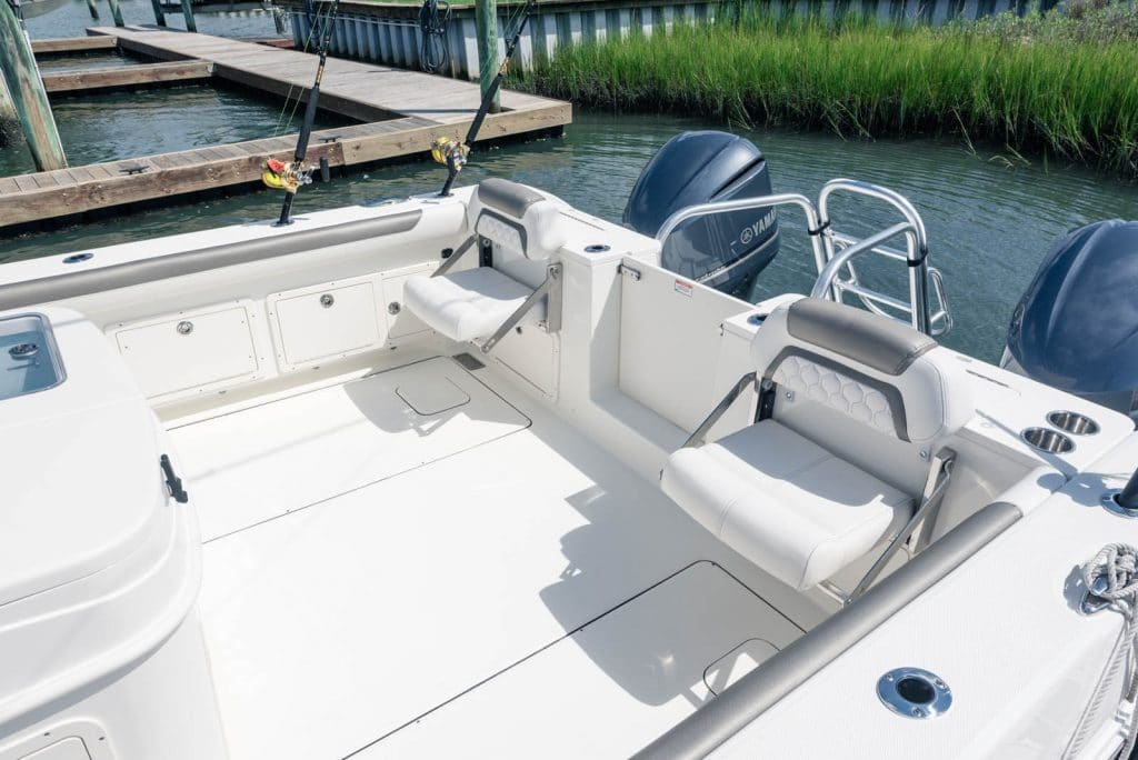 Fold-down aft seating with cushions