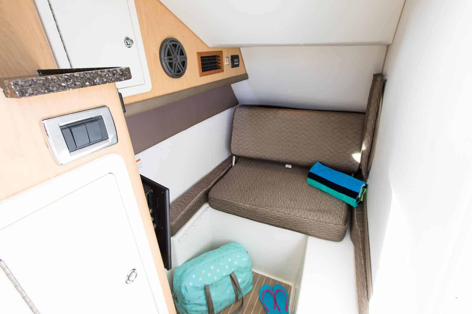 Stylish interior with 2-tone vinyl headliner and cabin sole