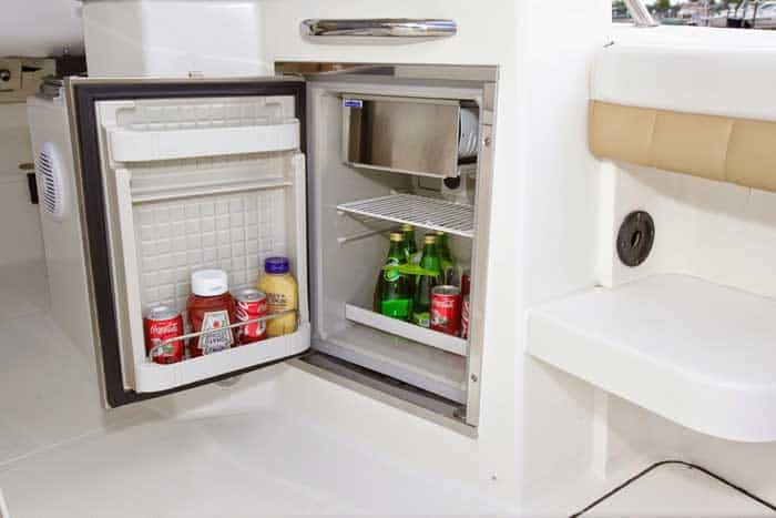 Stainless refrigerator (replaces trash receptacle)